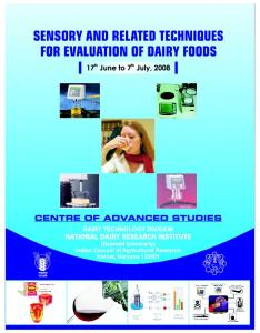 Sensory and Related Techniques for Evaluation of Dairy Foods ...
