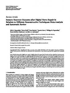 Sensory Recovery Outcome after Digital Nerve Repair in Relation to ...