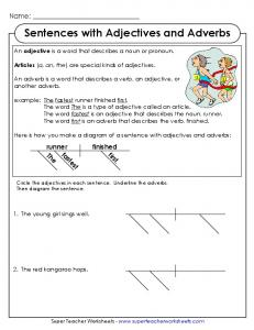 Sentences with Adjectives and Adverbs - Super Teacher Worksheets