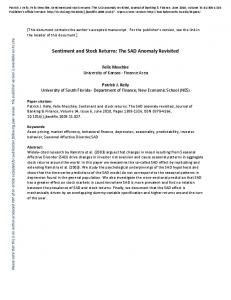 Sentiment and Stock Returns: The SAD Anomaly Revisited (PDF ...