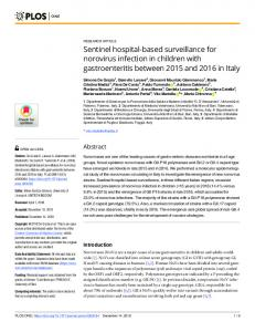 Sentinel hospital-based surveillance for norovirus infection in ... - PLOS