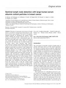 Sentinel lymph node detection with large human serum albumin ...