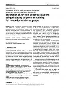 Separation of AsV from aqueous solutions using