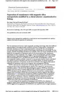Separation of enantiomers with magnetic silica nanoparticles modified ...
