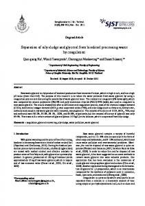 Separation of oily sludge and glycerol from biodiesel ... - RDO