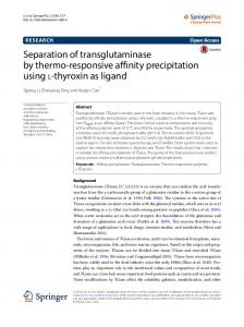 Separation of transglutaminase by thermo ... - Semantic Scholar