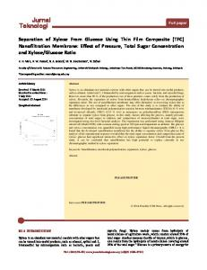 Separation of Xylose From Glucose Using Thin Film Composite (TFC ...
