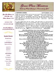 september - Grace Place Ministries