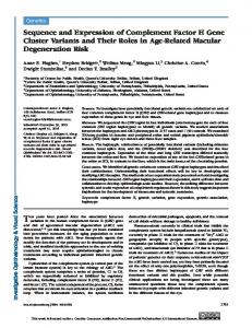 Sequence and Expression of Complement Factor ... - Semantic Scholar