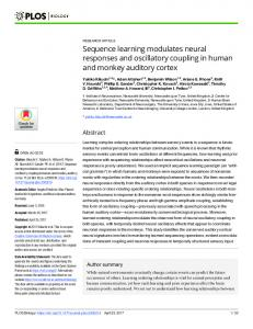 Sequence learning modulates neural responses and ... - PLOS