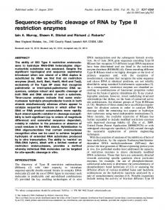 Sequence-specific cleavage of RNA by Type II restriction enzymes