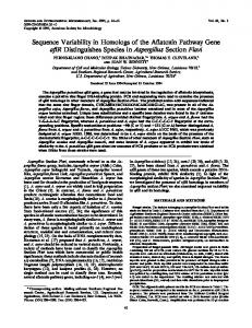 Sequence Variability in Homologs of the Affatoxin Pathway Gene aflR ...