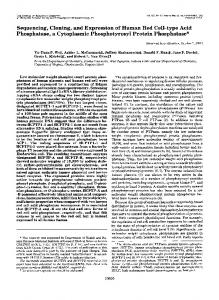 Sequencing, Cloning, and Expression of Human Red Cell-type Acid ...