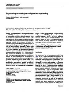 Sequencing technologies and genome sequencing - BioMedSearch