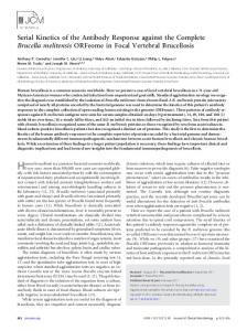 Serial Kinetics of the Antibody Response against the Complete ...