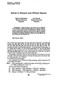 Series in Banach and Hilbert Spaces