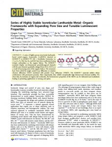 Series of Highly Stable Isoreticular Lanthanide ... - ACS Publications