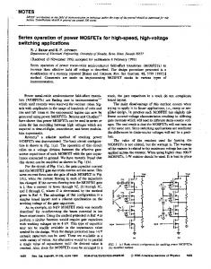 Series operation of power MOSFETs for high speed, high voltage ...