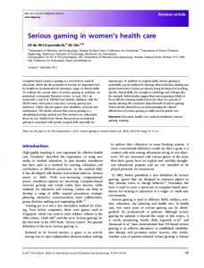 Serious gaming in womens health care - Wiley Online Library