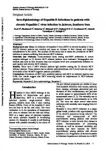 Sero-Epidemiology of Hepatitis E Infections in patients with chronic ...