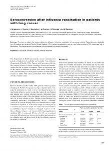 Seroconversion after influenza vaccination in patients ... - BioMedSearch