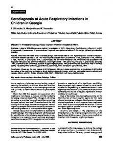 Serodiagnosis of Acute Respiratory Infections in Children in ... - MedIND