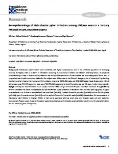Seroepidemiology of Helicobacter pylori infection among children ...