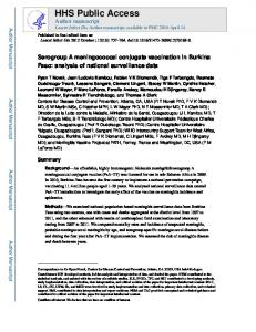 Serogroup A meningococcal conjugate vaccination in ... - CDC stacks