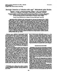 Serologic Detection of Infection with cagA Helicobacter pylori Strains