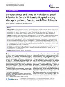 Seroprevalence and trend of Helicobacter pylori ... - Springer Link