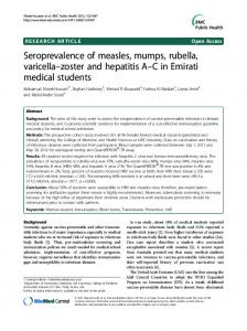 Seroprevalence of measles, mumps, rubella, varicella  zoster and ...
