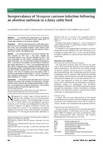 Seroprevalence of Neospora caninum infection following an abortion ...