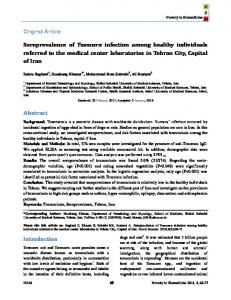 Seroprevalence of Toxocara infection among healthy ... - Statistics