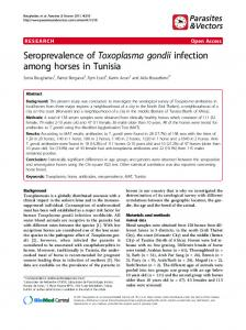 Seroprevalence of Toxoplasma gondii infection among horses in Tunisia