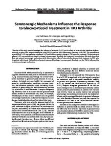 Serotonergic mechanisms influence the response to ... - CiteSeerX