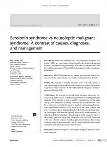 Serotonin syndrome vs neuroleptic malignant syndrome - CiteSeerX