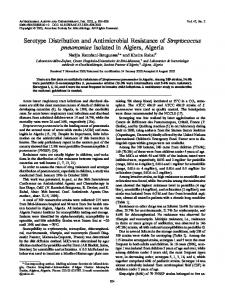Serotype Distribution and Antimicrobial Resistance of Streptococcus ...