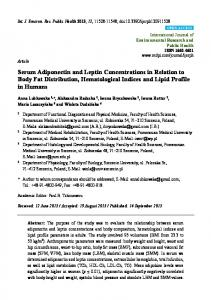 Serum Adiponectin and Leptin Concentrations in Relation to ... - MDPI