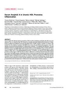Serum Amyloid A in Uremic HDL Promotes