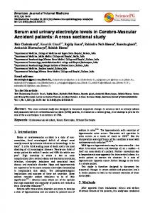 Serum and urinary electrolyte levels in Cerebro