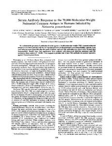 Serum Antibody Response to the 70000-Molecular-Weight ... - NCBI
