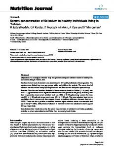Serum concentration of Selenium in healthy individuals living in ...
