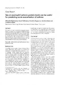 Serum eosinophil cationic protein levels can be useful for predicting ...