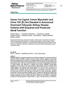 Serum Fas Ligand, Serum Myostatin and Urine TGF ...