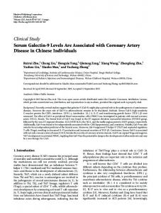 Serum Galectin-9 Levels Are Associated with Coronary Artery Disease ...