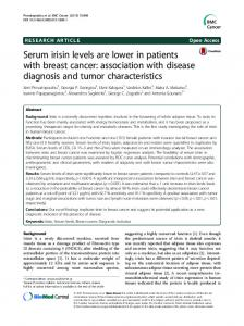 Serum irisin levels are lower in patients with breast cancer ...