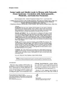 Serum Leptin and Ghrelin Levels in Women with ... - CiteSeerX