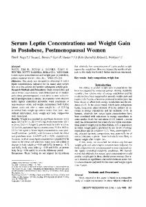 Serum Leptin Concentrations and Weight Gain ... - Wiley Online Library