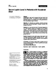 Serum Leptin Level in Patients with Duodenal Ulcer