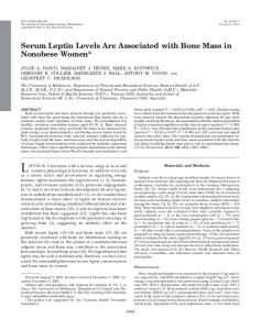 Serum Leptin Levels Are Associated with Bone Mass in ... - CiteSeerX